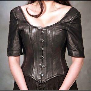 Plus size Steel boned leather corset renn Sca LARP